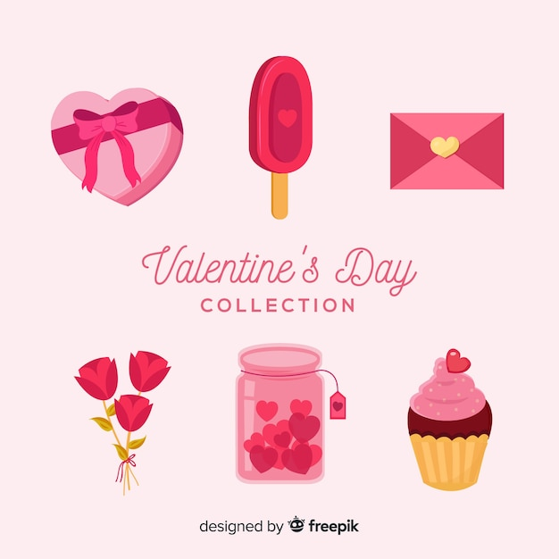 Flat valentine elements pack Free Vector