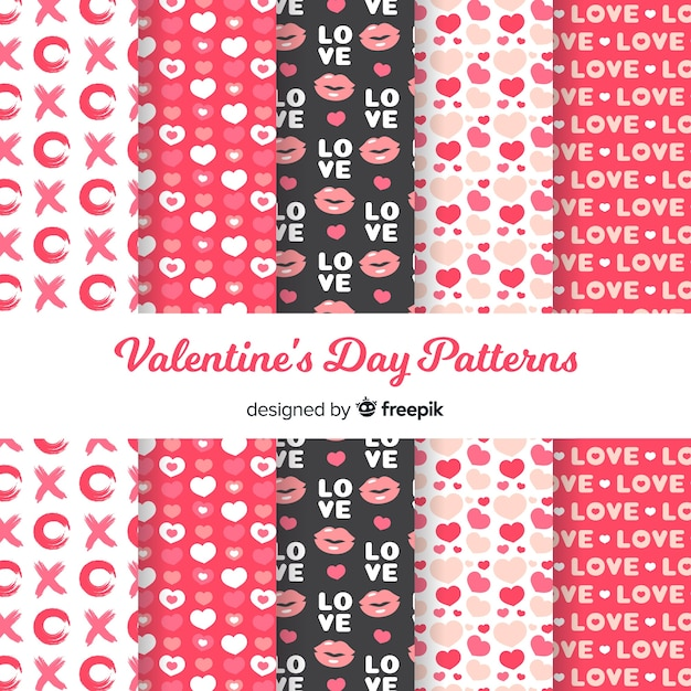Flat valentine pattern collection Free Vector