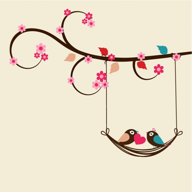 Flat valentine's background with romantic birds Premium Vector