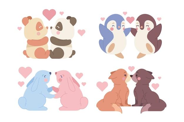Flat valentine's day animal couple Free Vector