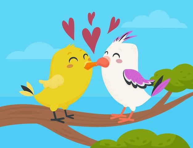 フラットバレンタインデーの動物のカップル 無料ベクター