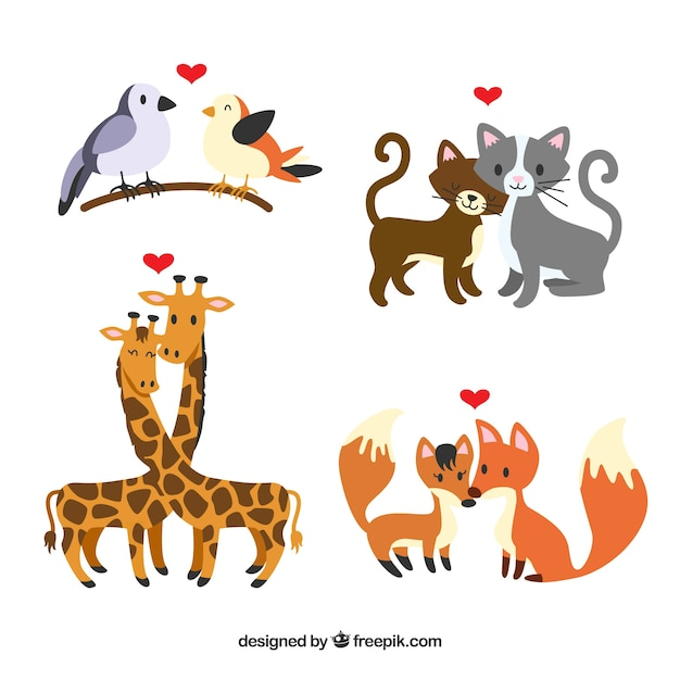 Flat valentine's day animal couples collection   Free Vector