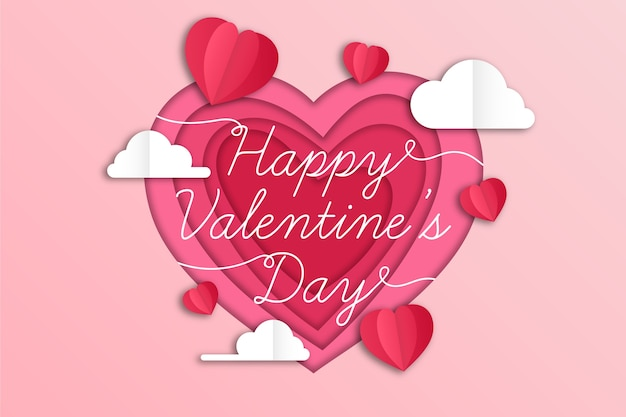 Flat valentine's day background and clouds Free Vector