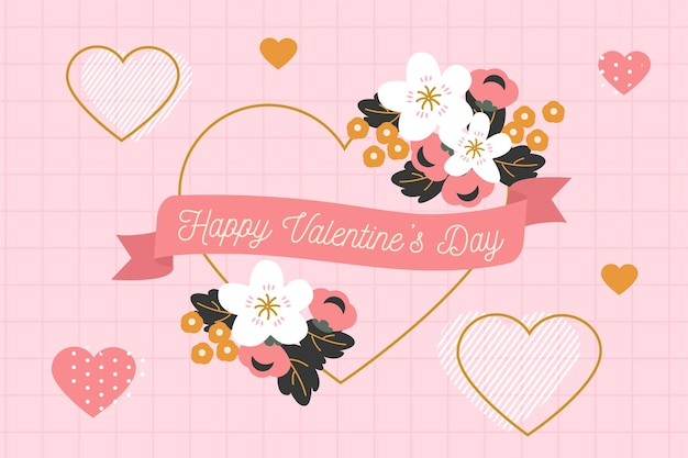 Flat valentine's day background greeting Free Vector