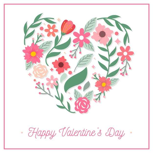 Flat valentine's day background with flowers Free Vector