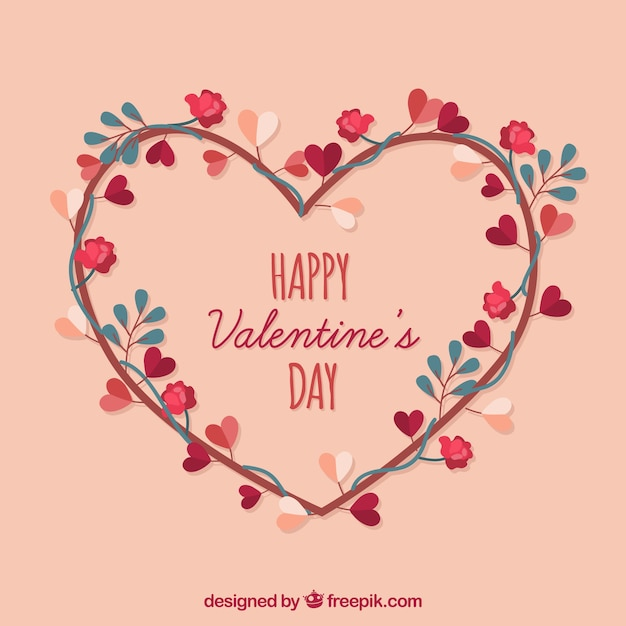 Floral Heart Happy valentine's day Free Vector