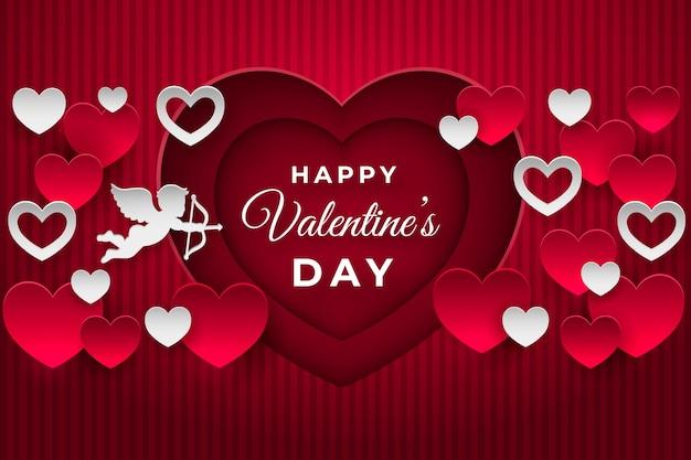 Flat valentine's day background Free Vector