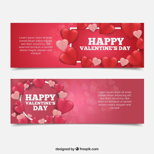 Flat valentine\'s day banners