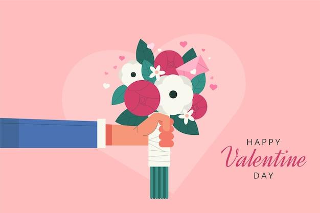 Flat valentine's day bouquet background Premium Vector