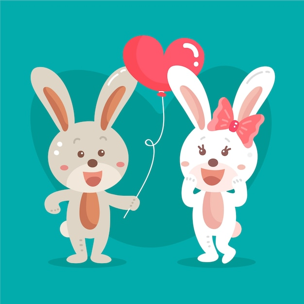 Flat valentine's day bunnies couple Free Vector