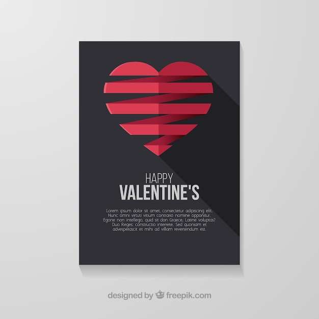 Flat valentine\'s day card template with\ hearts