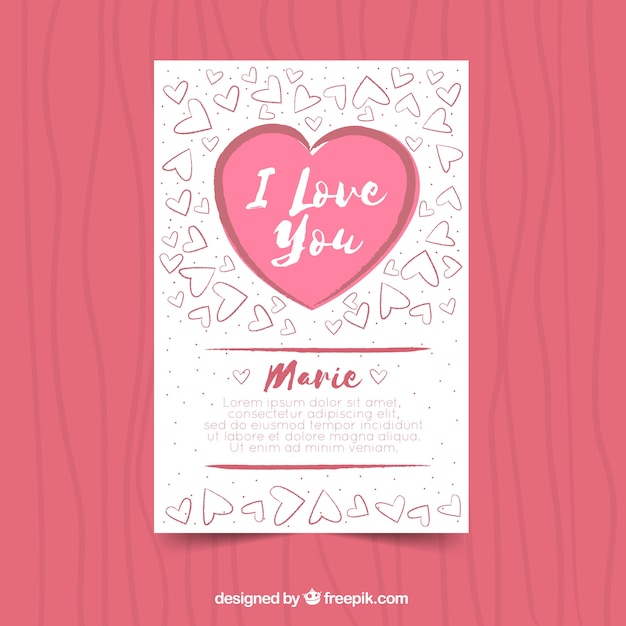 Flat valentine\'s day card template