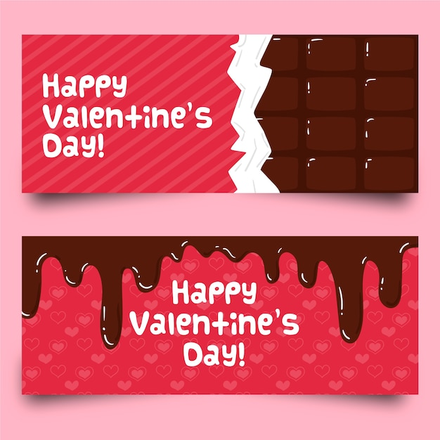 Premium Vector Flat Valentine S Day Chocolate Banners