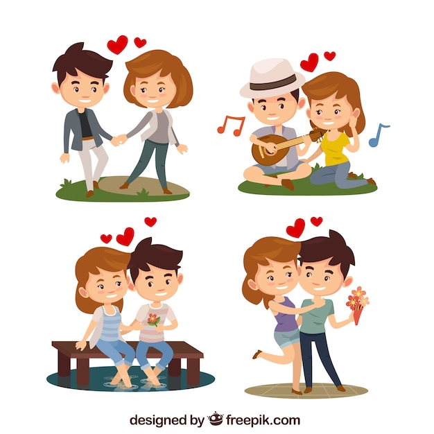 Flat valentine's day couple collection Free Vector