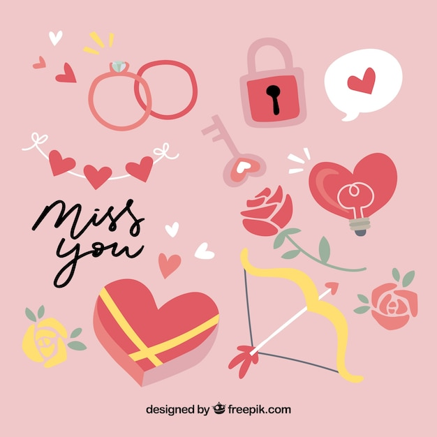 Flat valentine\'s day element collection Vector | Free Download