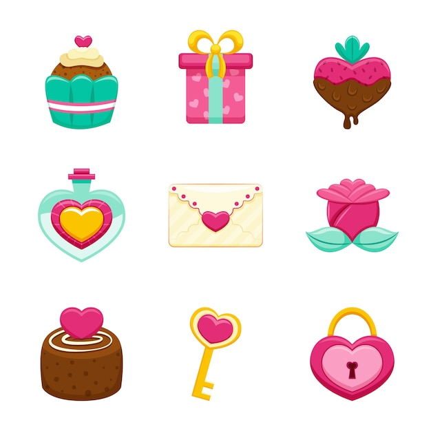 Flat valentine's day element collection Free Vector
