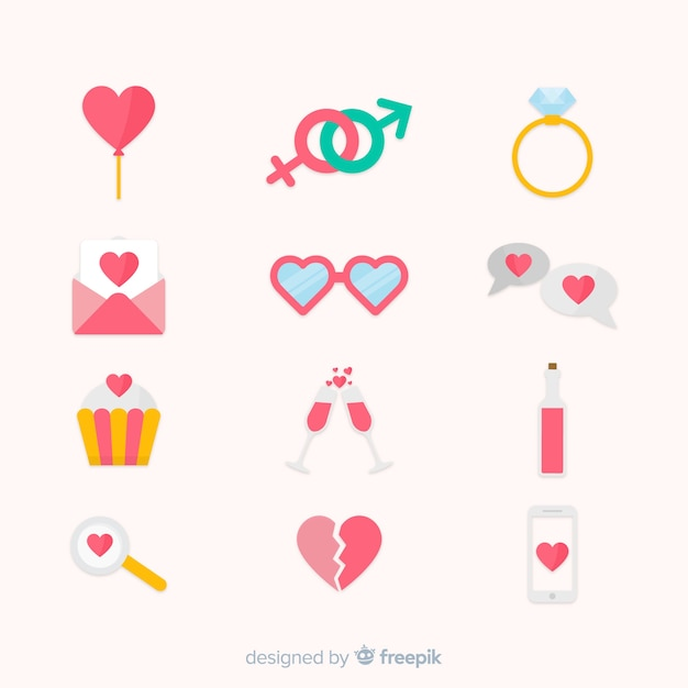Flat valentine's day elements collection Free Vector