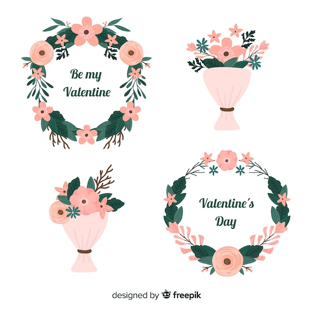Flat valentine's day floral wreaths & bouquets Free Vector