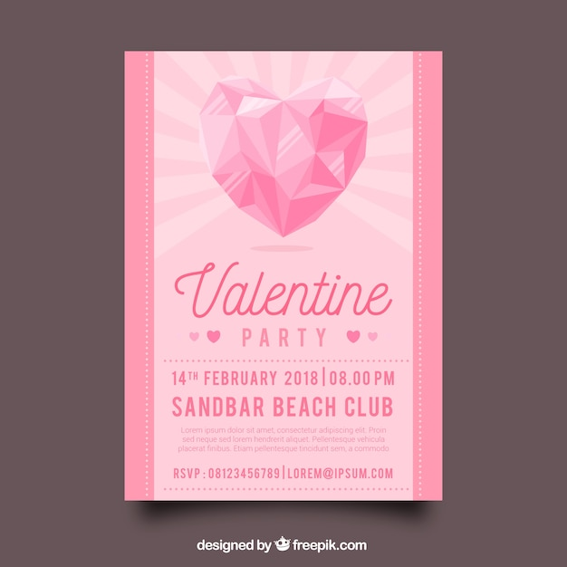 Flat Valentineu0027s Day Flyer/poster Template Free Vector
