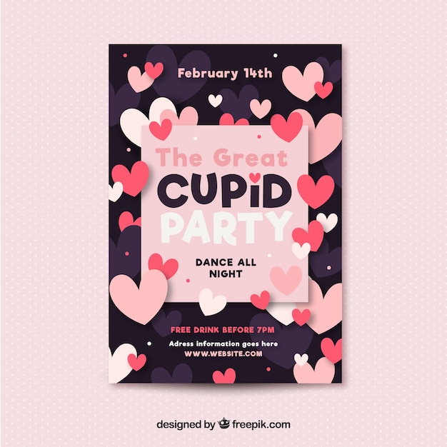 Flat Valentine S Day Flyer Poster Template Vector Free Download