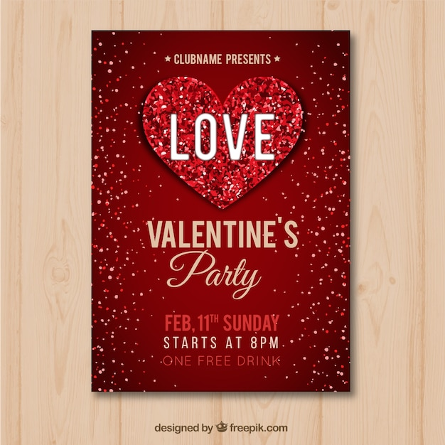Flat valentine's day flyer/poster  Free Vector