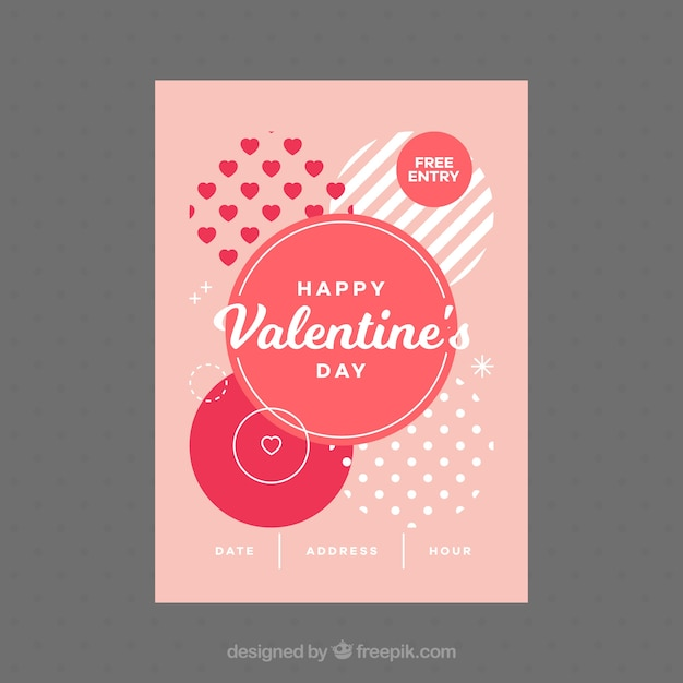 Flat Valentine's Day Flyer/poster Vector