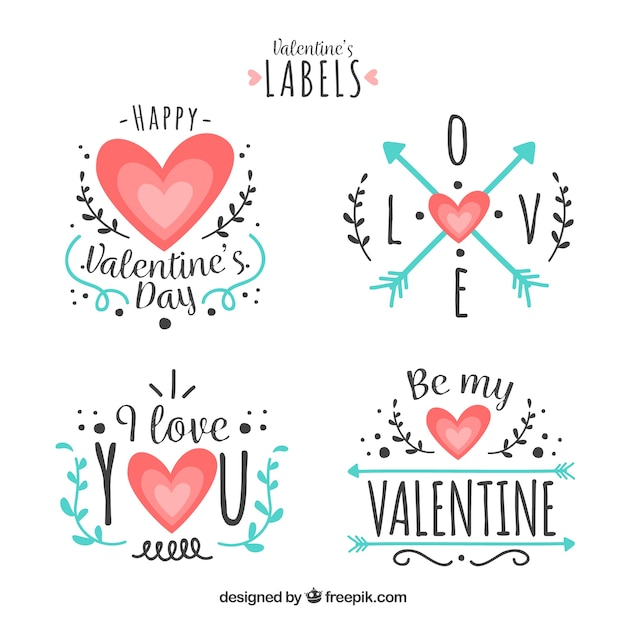 flat valentine s day label badge collection vector free download