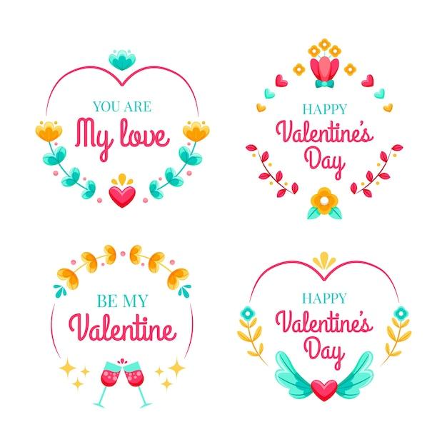 Flat valentine's day label/badge set Free Vector