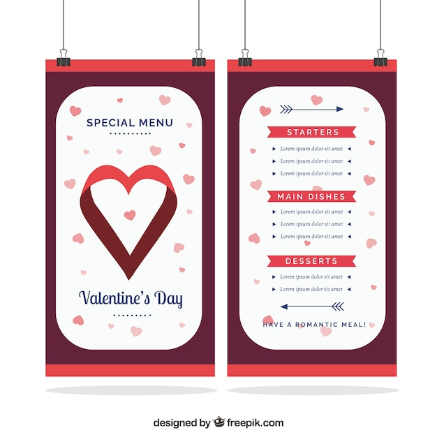 Flat Valentine S Day Menu Template Vector Free Download
