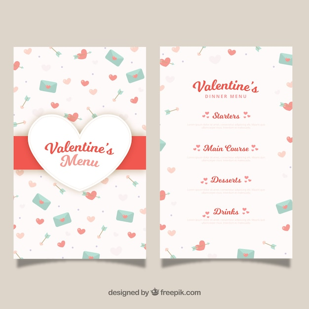Flat Valentine S Day Menu Template Nohat