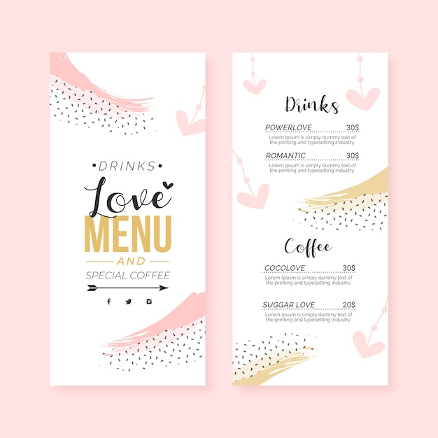 Flat valentine's day menu template Free Vector