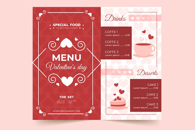 Flat valentine's day menu template Free Vector