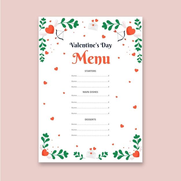 Плоское меню дня святого валентина Бесплатные векторы