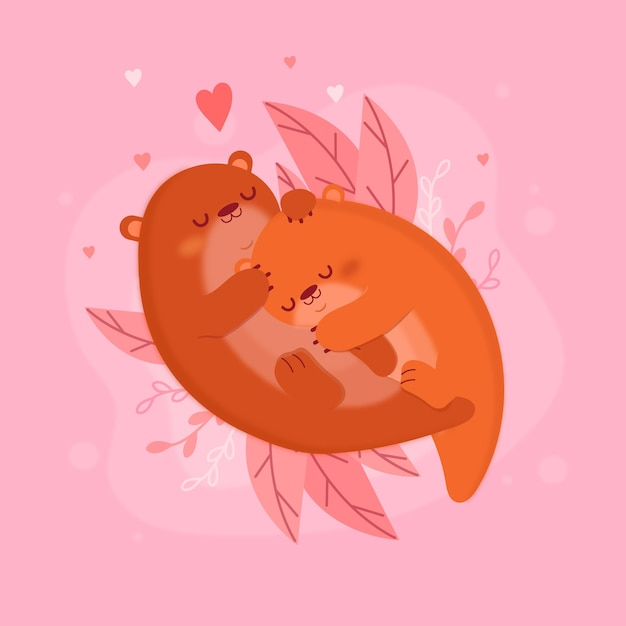 Flat valentine's day otters animal couple Free Vector