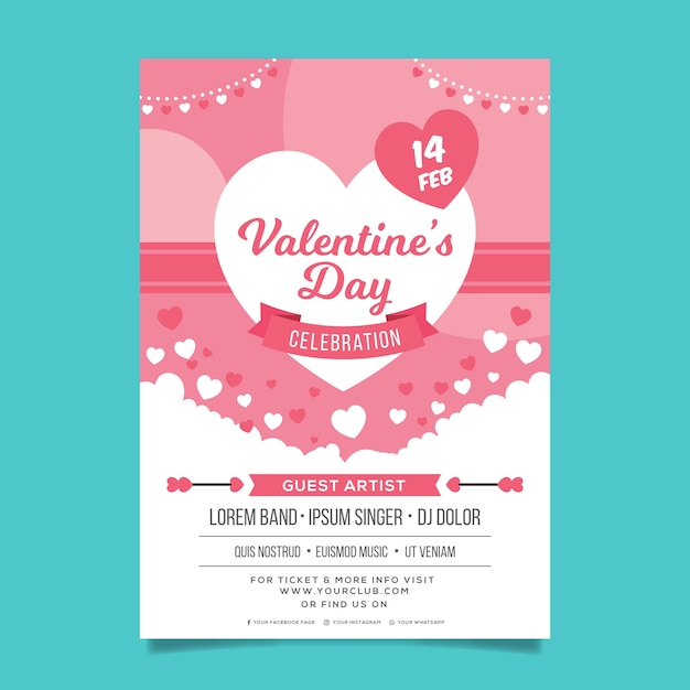 Flat valentine's day party flyer Free Vector