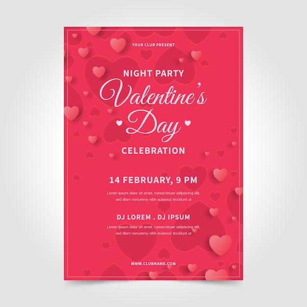 Flat valentine's day party poster template Free Vector