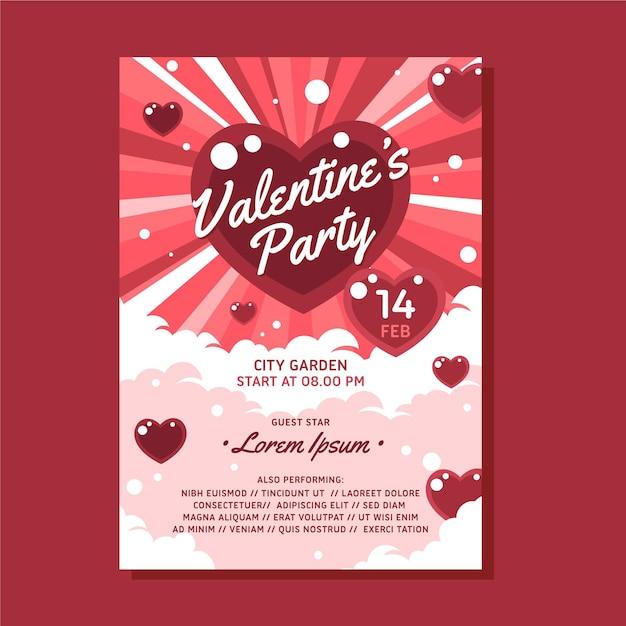 Modello di manifesto festa di san valentino piatto Vettore gratuito