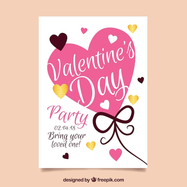 Flat valentine\'s day party poster