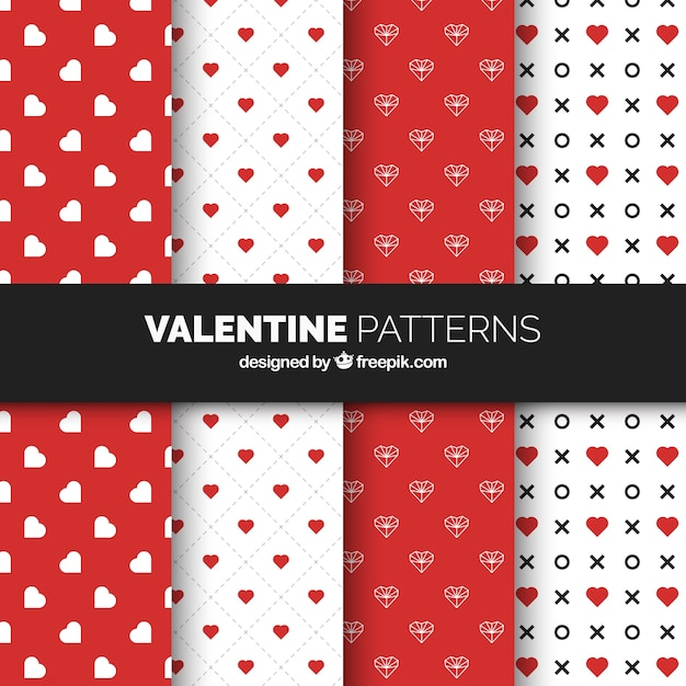 Flat valentine's day pattern collection with hearts Free Vector