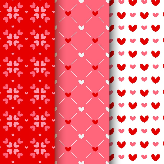 Flat valentine's day pattern collection Free Vector