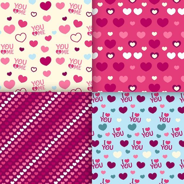 フラットバレンタインデーパターンコレクション 無料ベクター