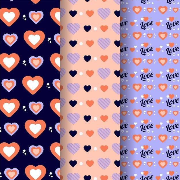 플랫 발렌타인 패턴 컬렉션 무료 벡터