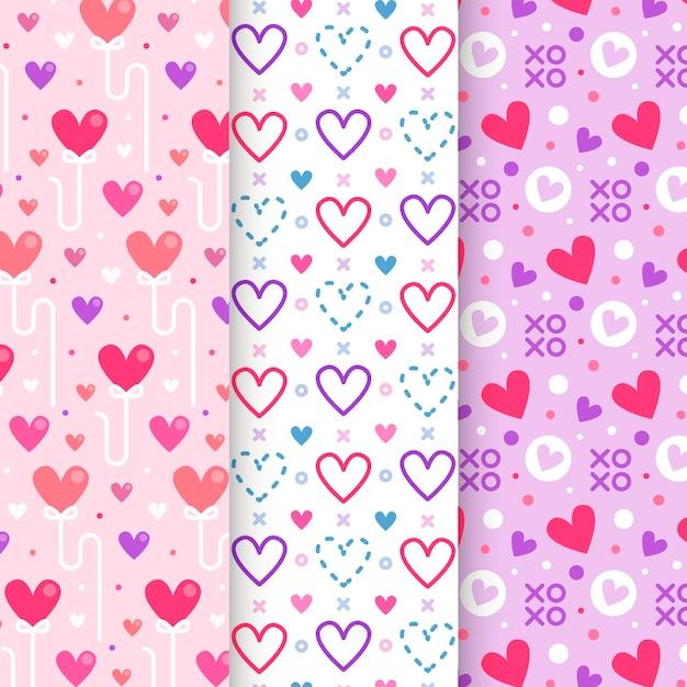 플랫 발렌타인 패턴 무료 벡터
