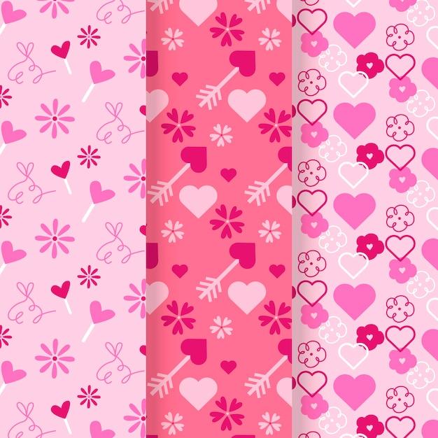플랫 발렌타인 데이 패턴 무료 벡터