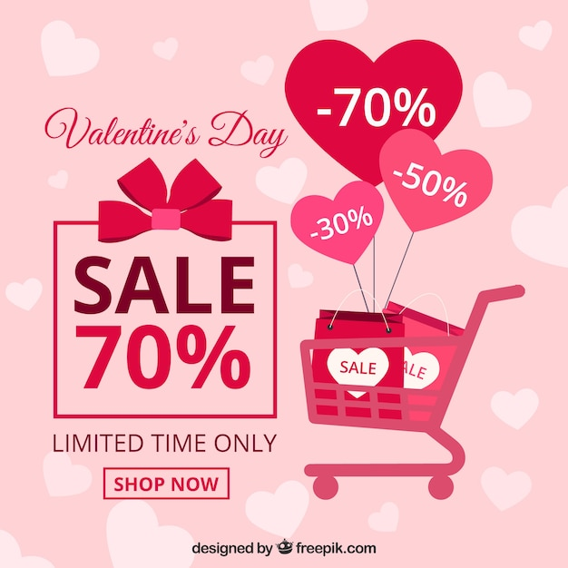 Flat Valentineu0027s Day Sale Background Free Vector