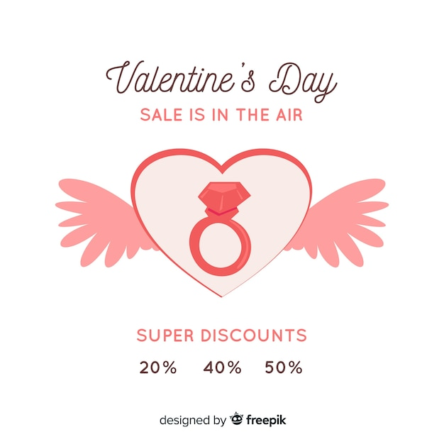 Flat Valentine S Day Sale Background Vector Free Download