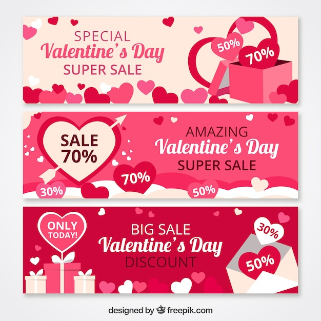 Flat valentine\'s day sale banners Vector | Free Download