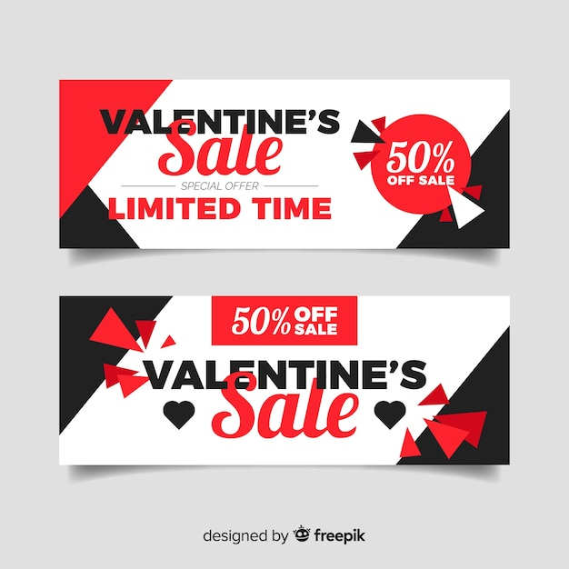 Flat Valentine S Day Sale Banners Vector Free Download