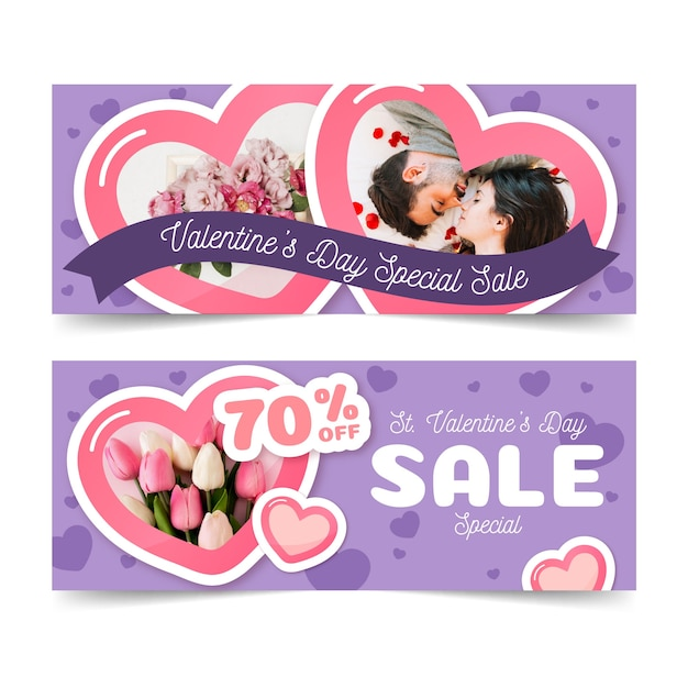 Flat valentine's day sale banners Free Vector