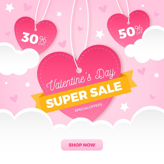 Flat valentine's day sale with hearts Free Vector